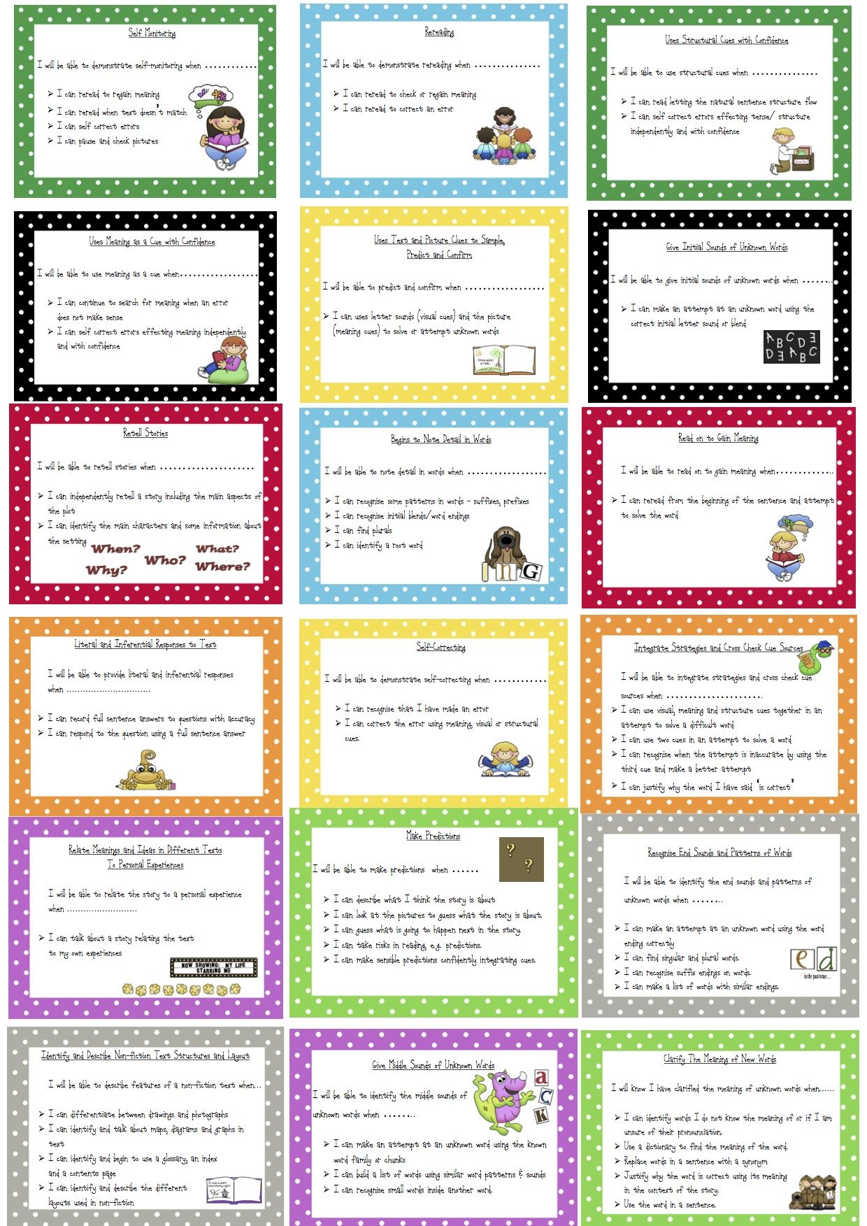 Reading Learning Intention Amp Success Criteria Cards