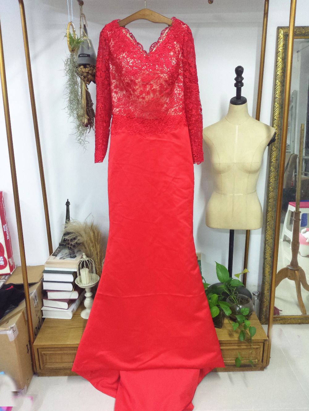 Aliexpress buy floor length lace full sleeves red satin formal