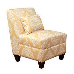 Yellow Damask Slipper Chair | Yellow furniture, Yellow ...