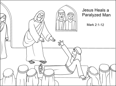 26++ Jesus heals the paralytic coloring page HD