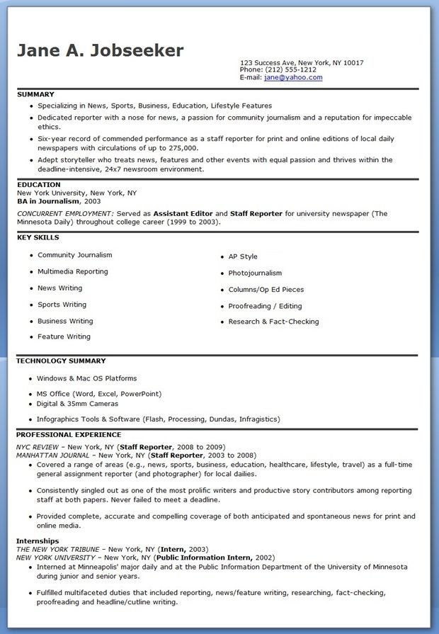 Journalist Resume Examples Creative Resume Design Templates Word