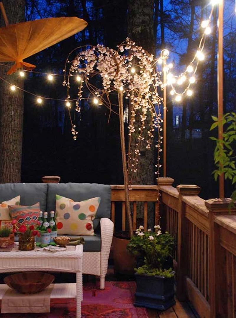 balcony lighting decorating ideas. 99 deck decorating ideas pergola, lights and cement planters - balcony lighting e