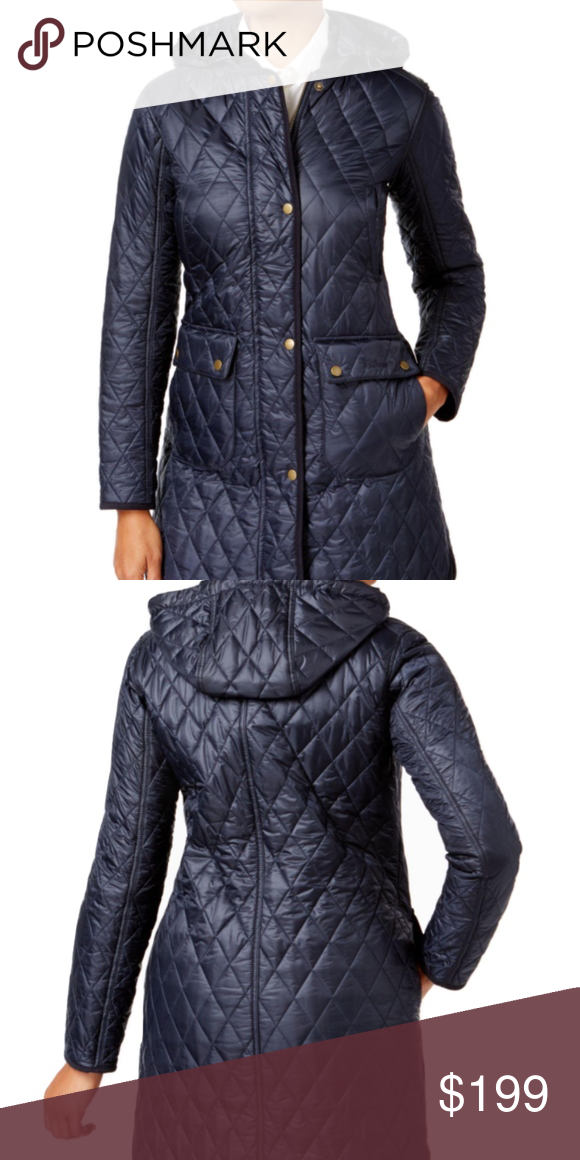 a3fa660fcb4 New Barbour Tarn Quilted Hooded Puffer Coat Navy 8 Barbour's heritage  styling is seen throughout this diamond-quilted field coat styled with a  satin sheen ...