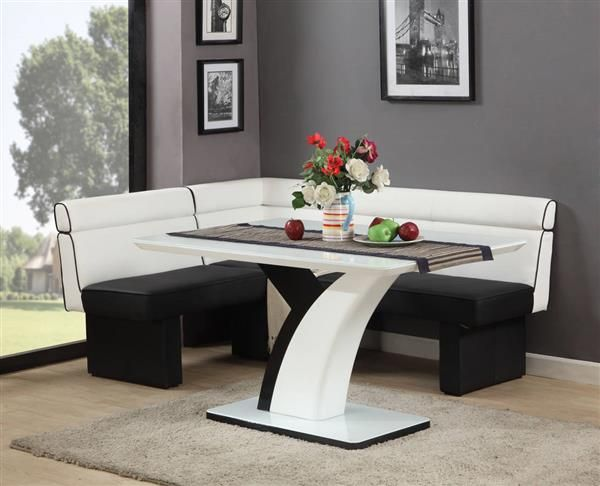 "Natasha Modern White Black Glass Pu Nook Set  ""exótica Delectable White And Black Dining Room Sets Design Ideas"