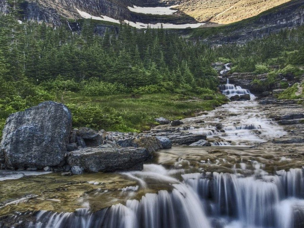 Nice little waterfall and river - Glacier National Park