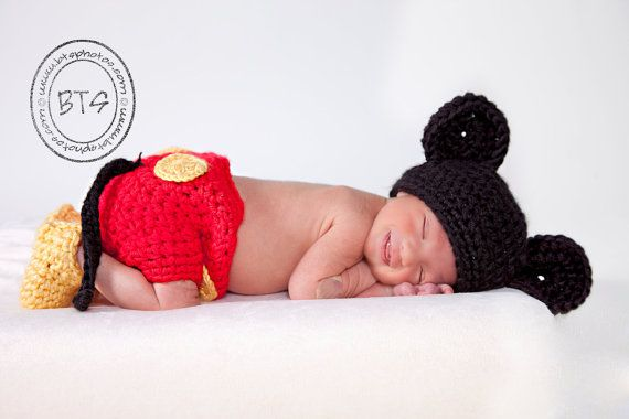 i saw this on a baby this halloween adorable mickey mouse hat and diaper cover and feet by ladyhudd on etsy - Infant Mickey Mouse Halloween Costume