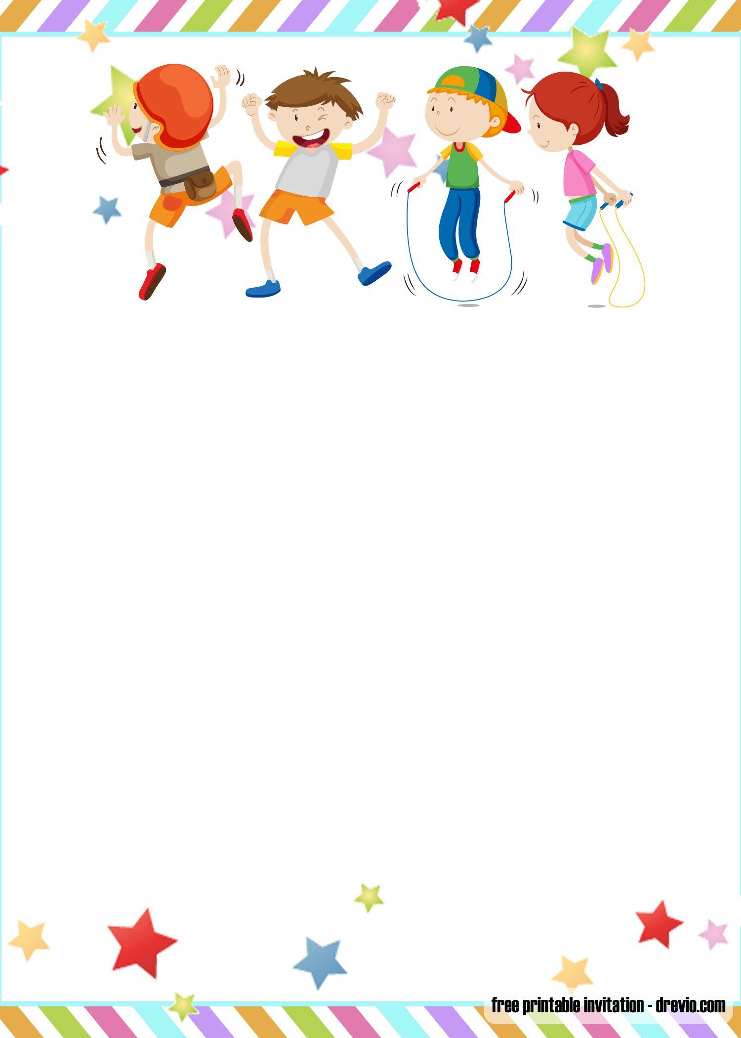 FREE Printable Trampoline Jump Birthday Invitation Templates