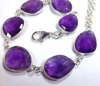 Amethyst Gemstone Faceted Solid Sterling Silver Bracelet, New, Actual One, UK Se