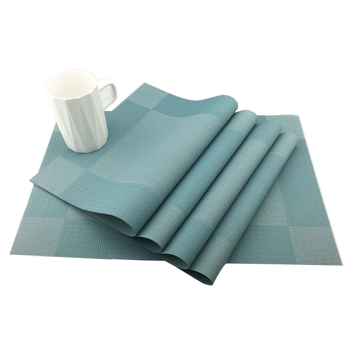 Set Of 4 Pvc Blue Beige Brown Place Mat Dining Table Mats Set Table Bowl Pad Napkin Dining Table Tray Mat Coasters Kids Tray Table Table Mats Dining Table