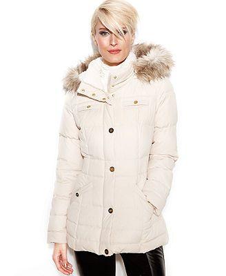 Laundry By Design Coat Hooded Faux Fur Trim Puffer Black Trendy Coat Puffer Coat