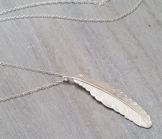 Long pendant necklace  Silver feather necklace Silver
