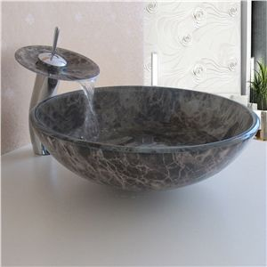 Simple/Modern/Pastoral Marble Round Tempered Glass Sink with Faucet ...