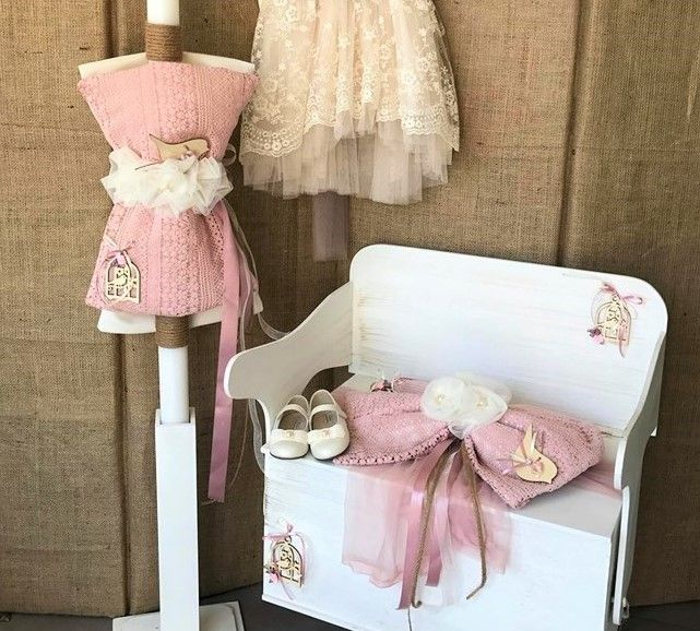 Vintage Ρομαντικό Σετ Βάπτισης για κορίτσι με θέμα το πουλάκι που  αποτελείται από ξύλινο παγκάκι θρανίο 6405962d30d