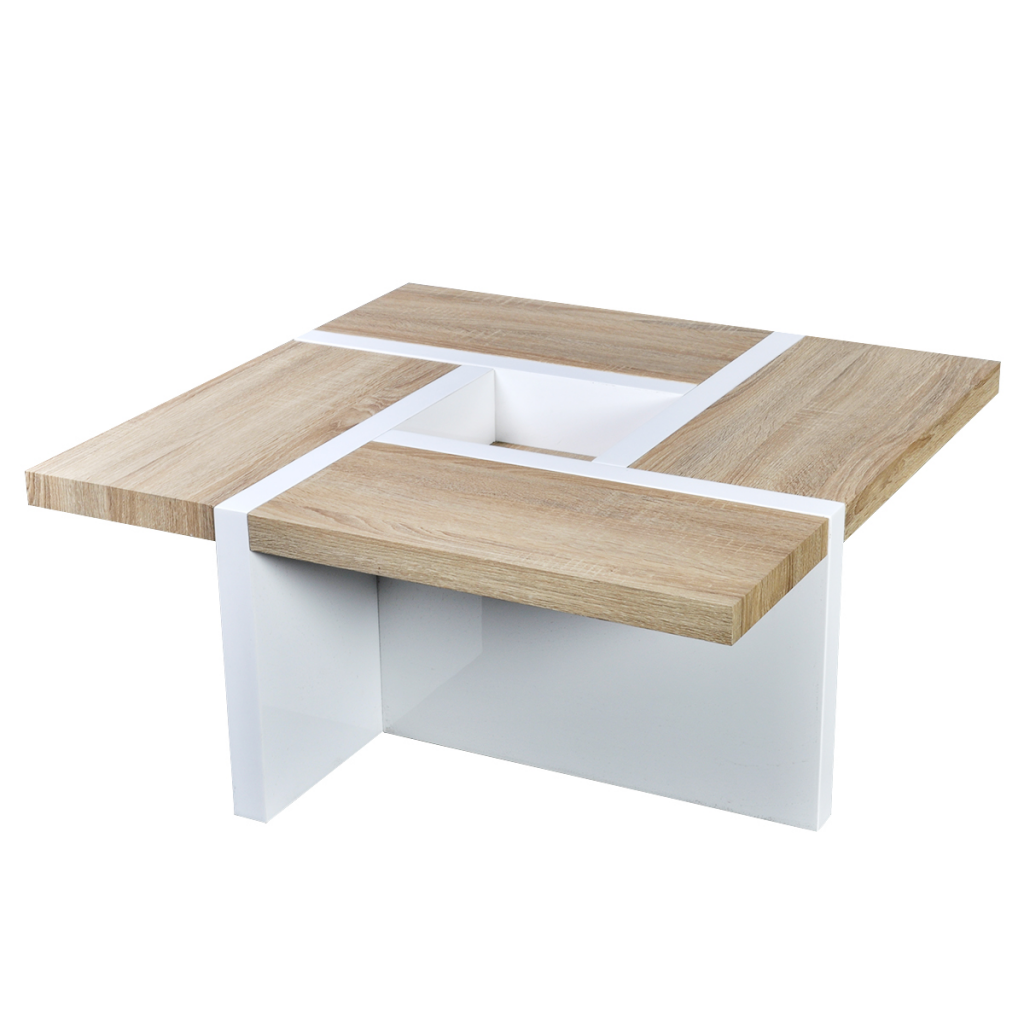 Pin By Product Bureau On Tables Coffee Side: Table Basse Chêne / Blanc Brillant