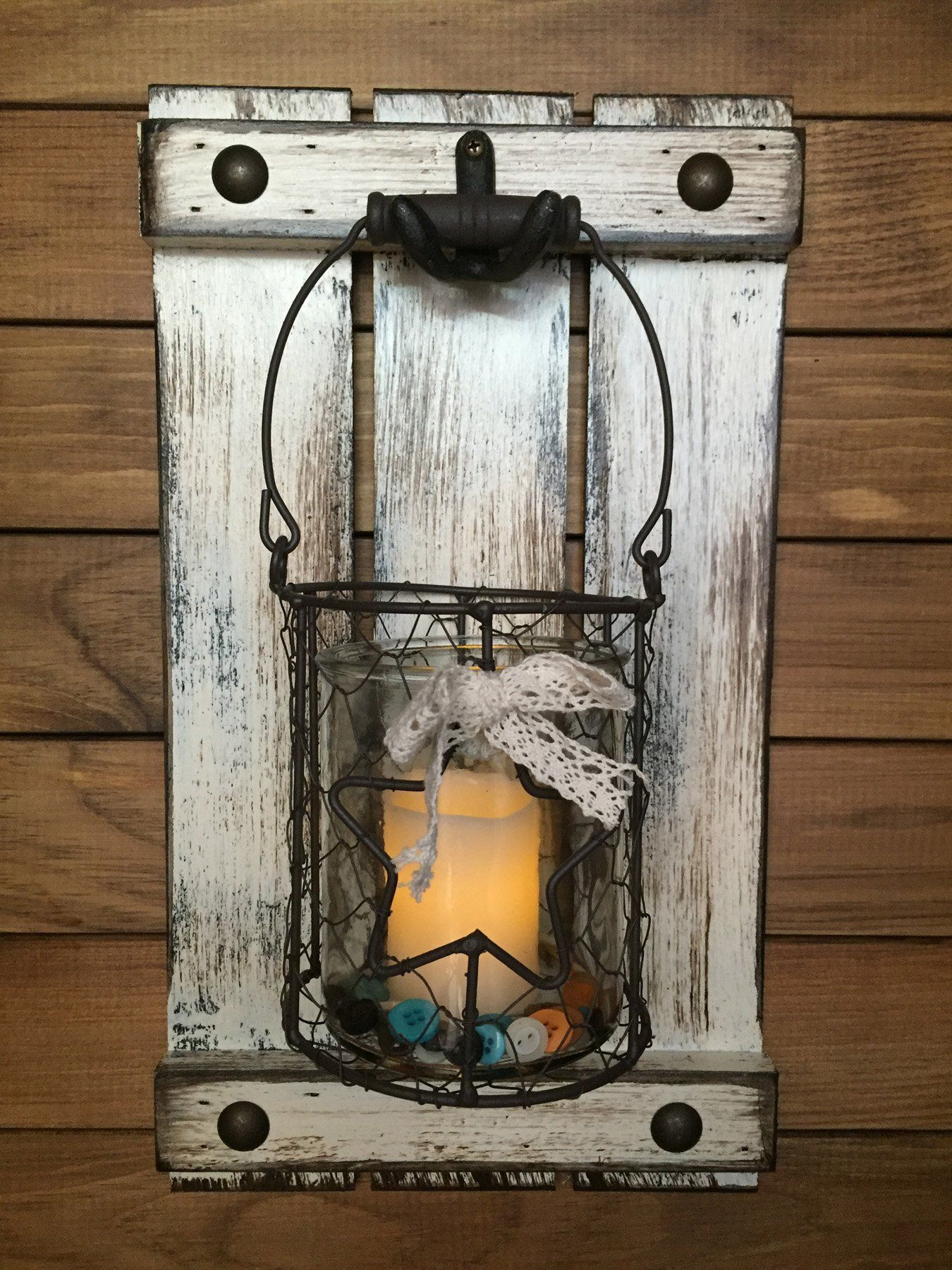 Jar wall decor candle holder metal star chicken wire jar shutter