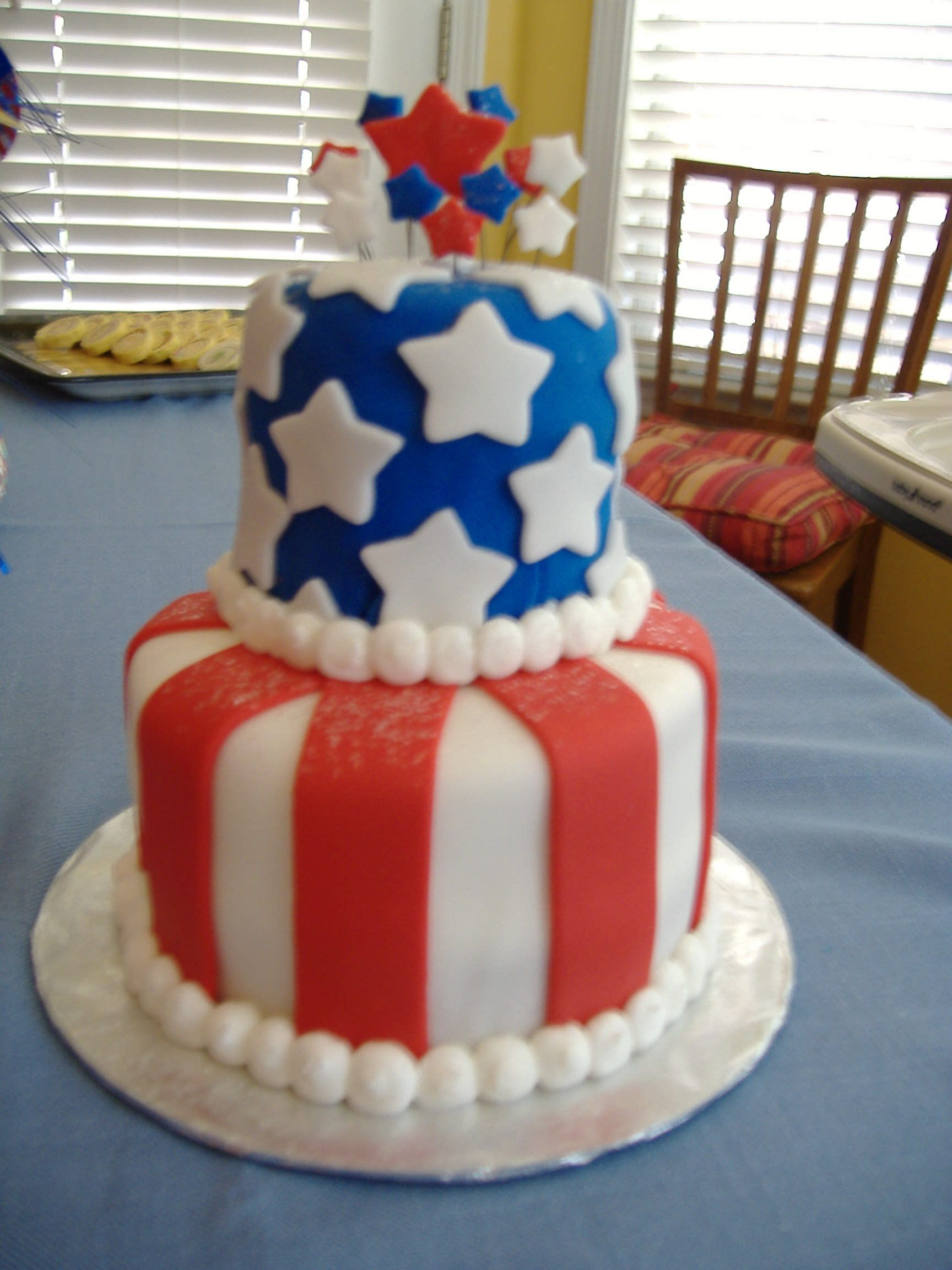 Amazing Red White Blue Party Cake Perfect For For 4Th Of July Mit Funny Birthday Cards Online Inifofree Goldxyz