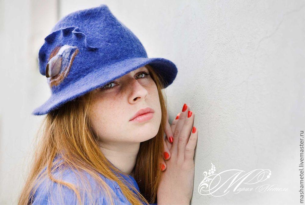 Купить Шляпа с камнем - шляпа, валяная шляпа, головной убор, натуральная шерсть