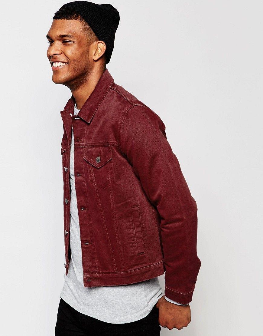 ASOS Slim Denim Jacket in Burgundy  bf63c0c4aac29