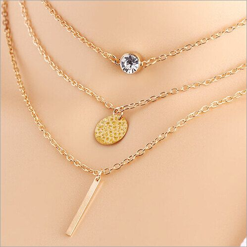 New Fashion Multi 3 Layers Chain Necklace Coins Crystal Long Strip Pendant  Gold Plated Necklaces Jewelry For women eac28d2c7d04