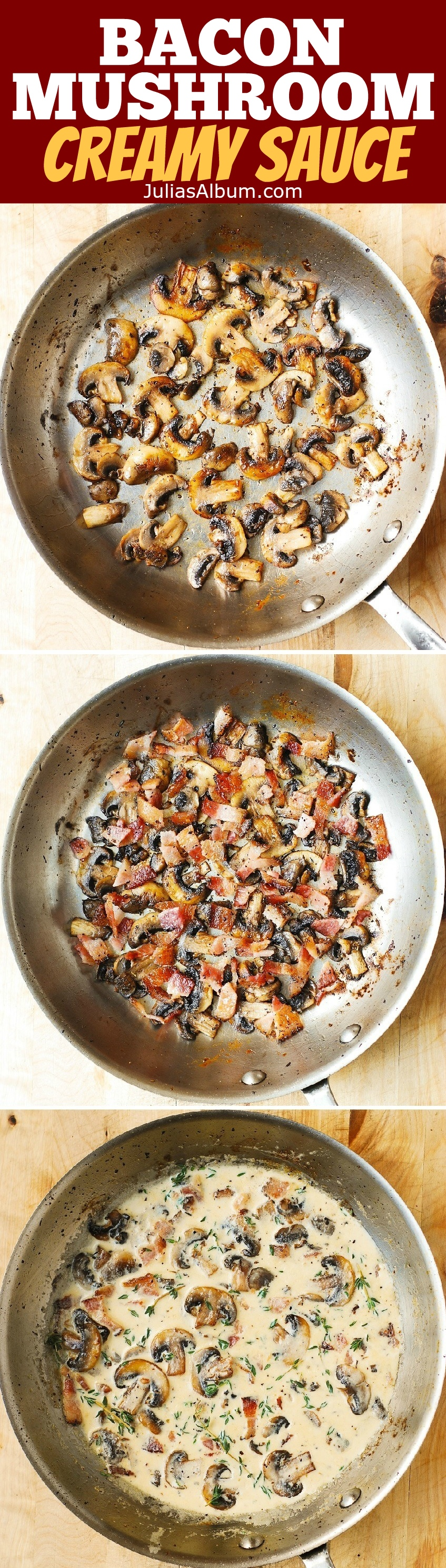 Creamy Mushroom Sauce with Bacon and Thyme - a great ...