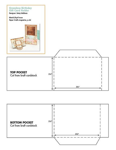 March April 2011 Patterns March April 2011 Paper Crafts Gift Card Holder Template Gift Card Template Gift Card Holder