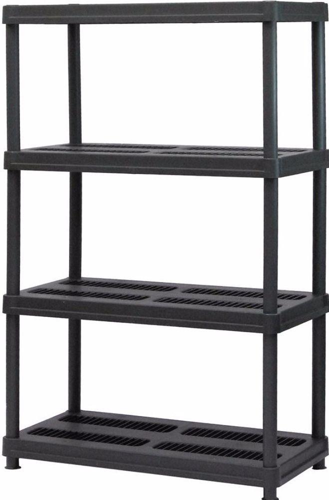 4 Shelf Black Plastic Shelving Unit Home Office Storage Organizer