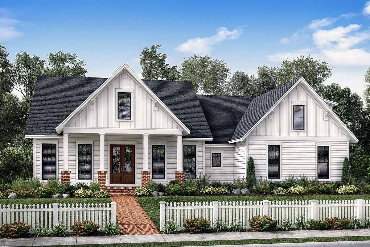 Exclusive farmhouse with bonus room and side load garage 51772hz architectural designs house plans