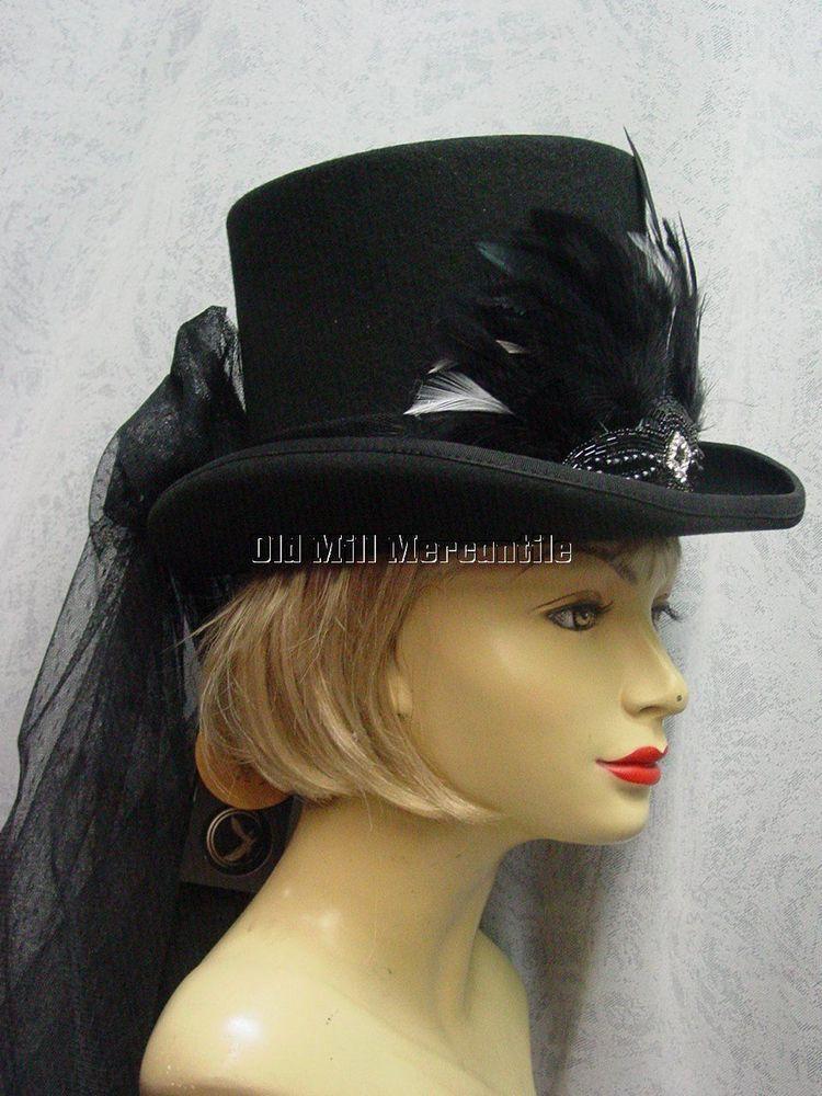 Women s riding hat black wool top hat size Small Medium (22 1 4