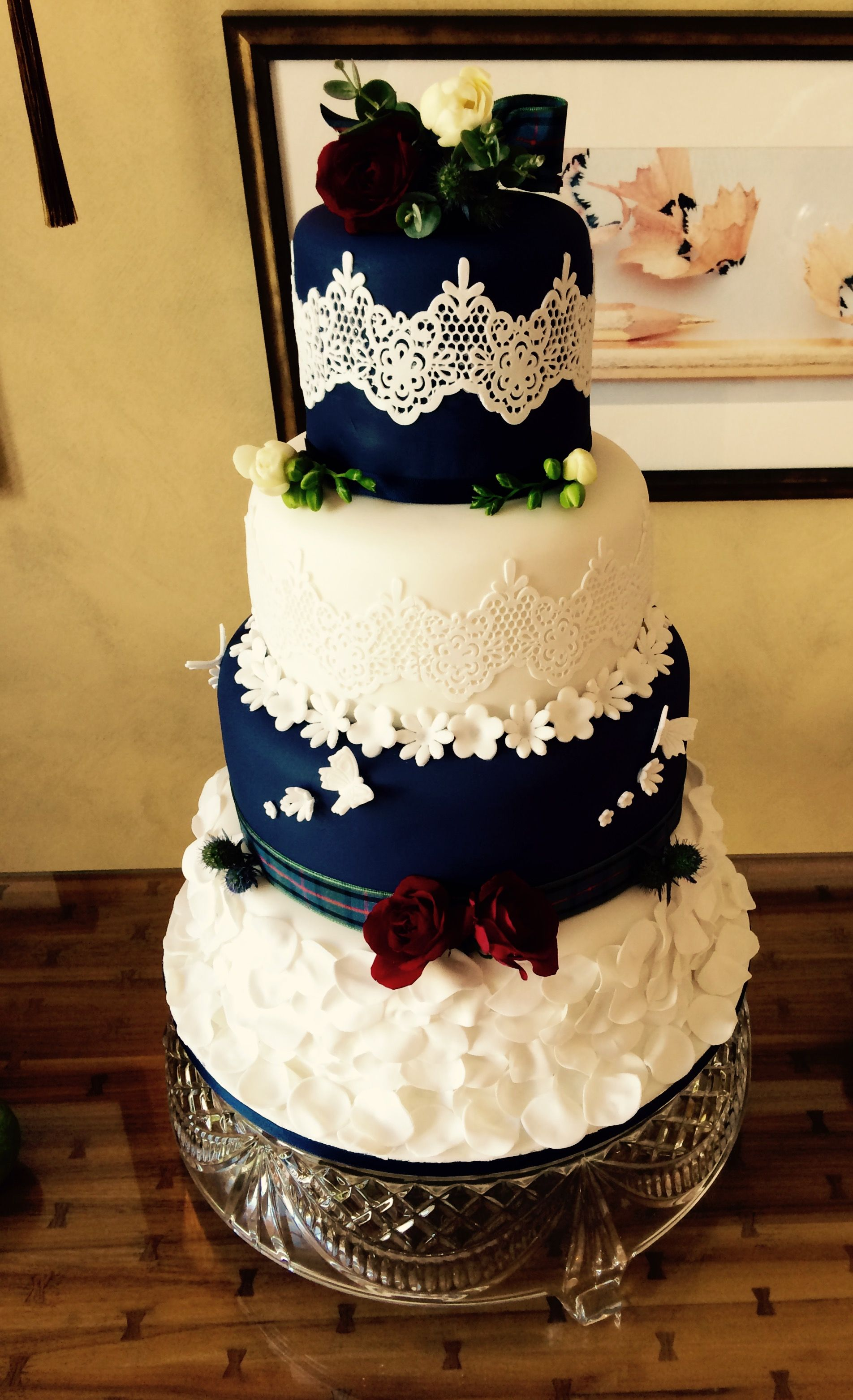 Scottish Themed Wedding Cake With Tartan Ribbon Edible