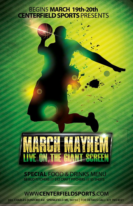The Madness Begins Free  Basketball Themed Psd Flyers For The