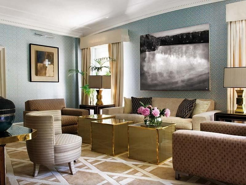 Jane Lockhart Beige & Blue Living Room modern-living-room