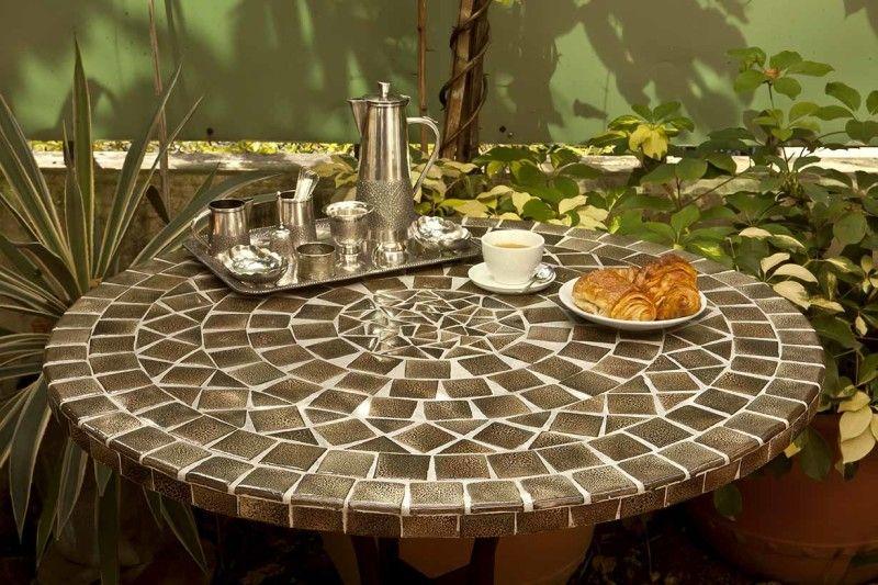Table mosaïque et fer forgé ronde 60 cm | Tables en mosaïque et fer ...