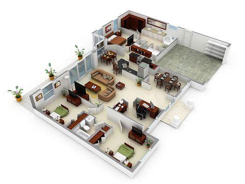Planos 3d buscar con google interiores de casas for Disegnare una stanza in 3d