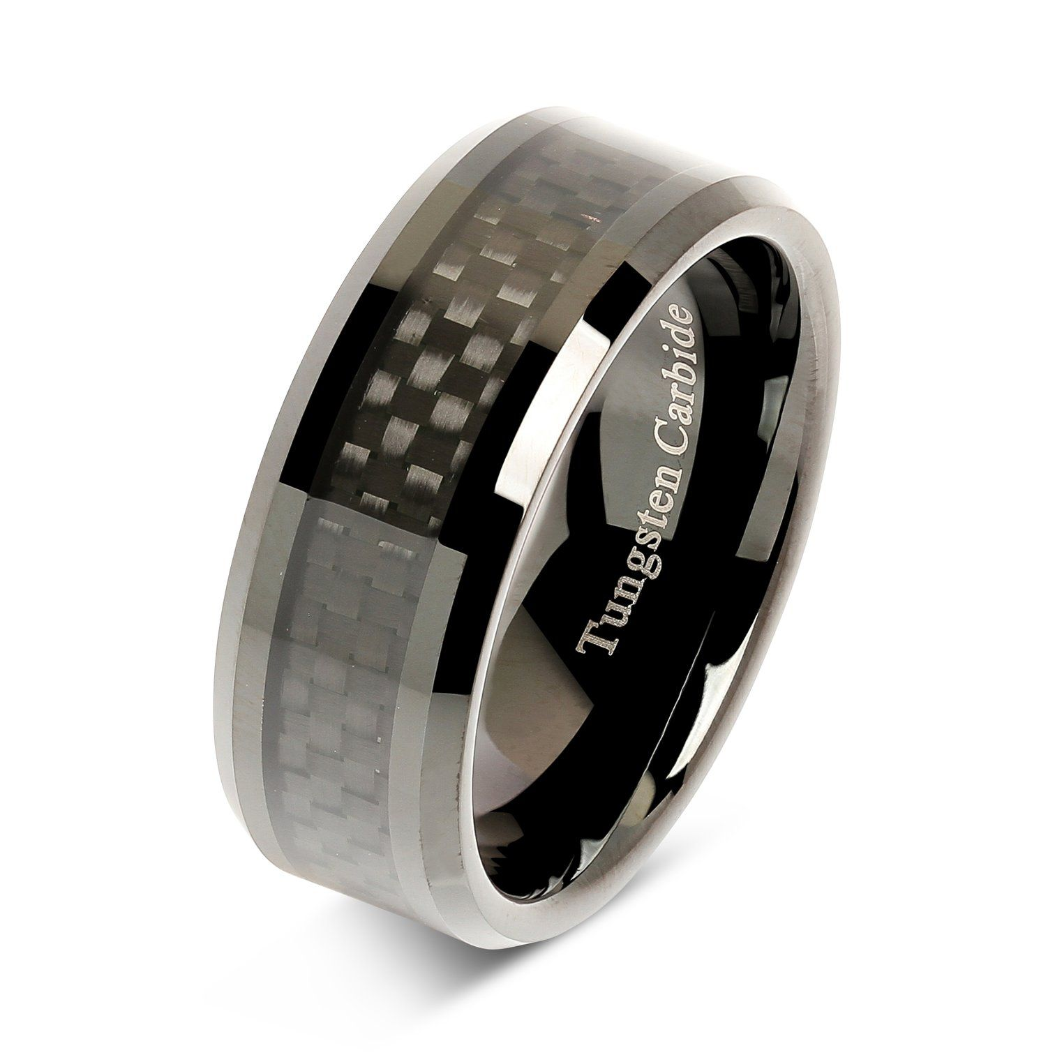 8mm Tungsten Carbide Ring Carbon Fiber Inlay Black Plated