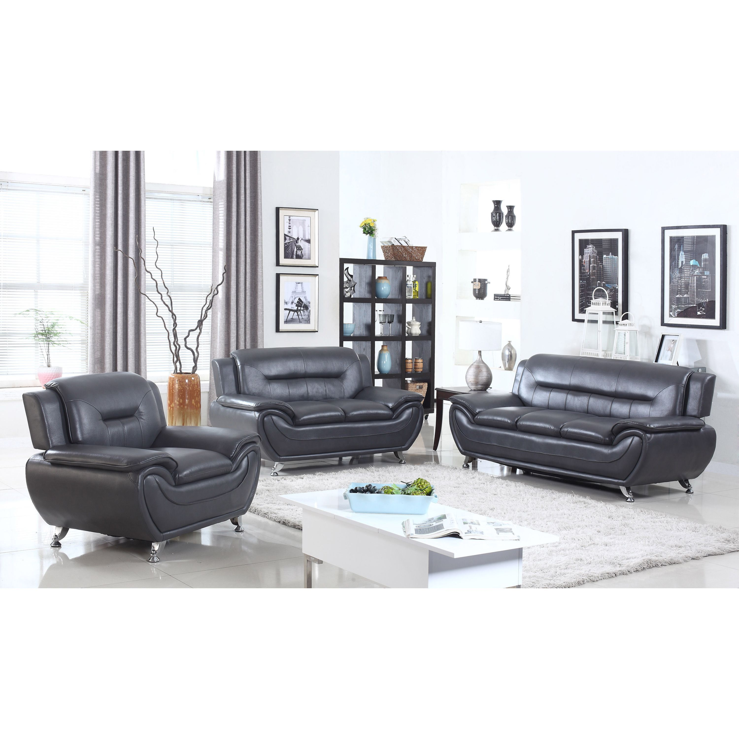 Alice Faux Leather Modern Living Room Set 3 Piece Brown