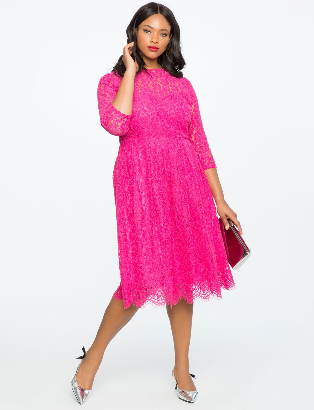Lace Fit And Flare Dress Women S Plus Size Dresses Eloquii Party Dresses With Sleeves Pink Plus Size Dresses Fit And Flare Dress [ 1370 x 1050 Pixel ]