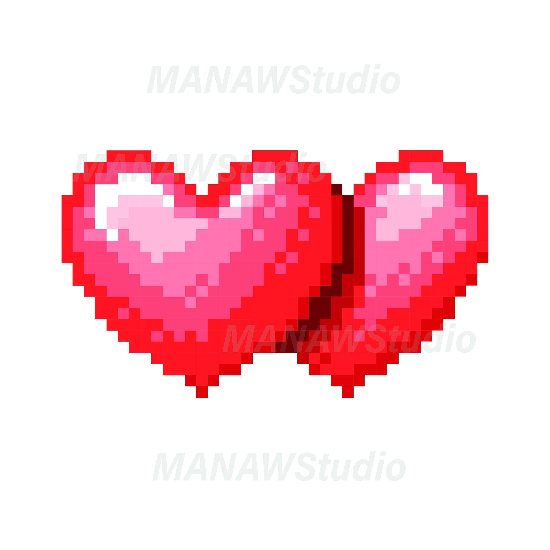 Double Heart 8 Bit Pixel Instant Digital Download Eps Svg Etsy Pixel Pixel Art Pixel Heart