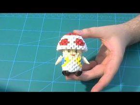 3D Origami Toad mushroom from Mario Bros tutorial - YouTube
