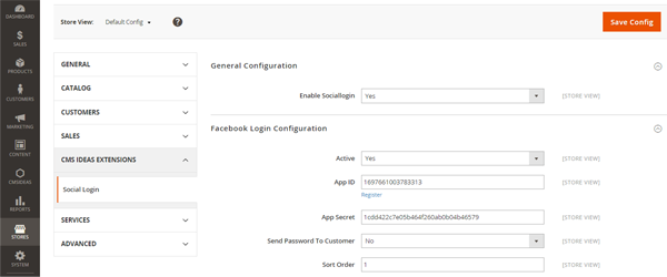 Magento 2 Extensie, Login met social media, instellingen