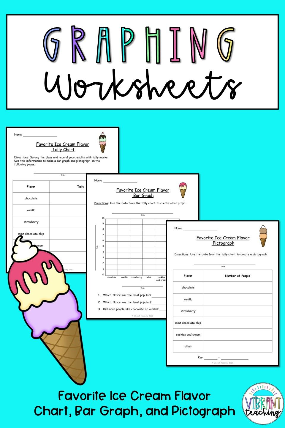 Graphing Worksheets: Favorite Ice Cream Flavor   Graphing worksheets [ 1440 x 960 Pixel ]