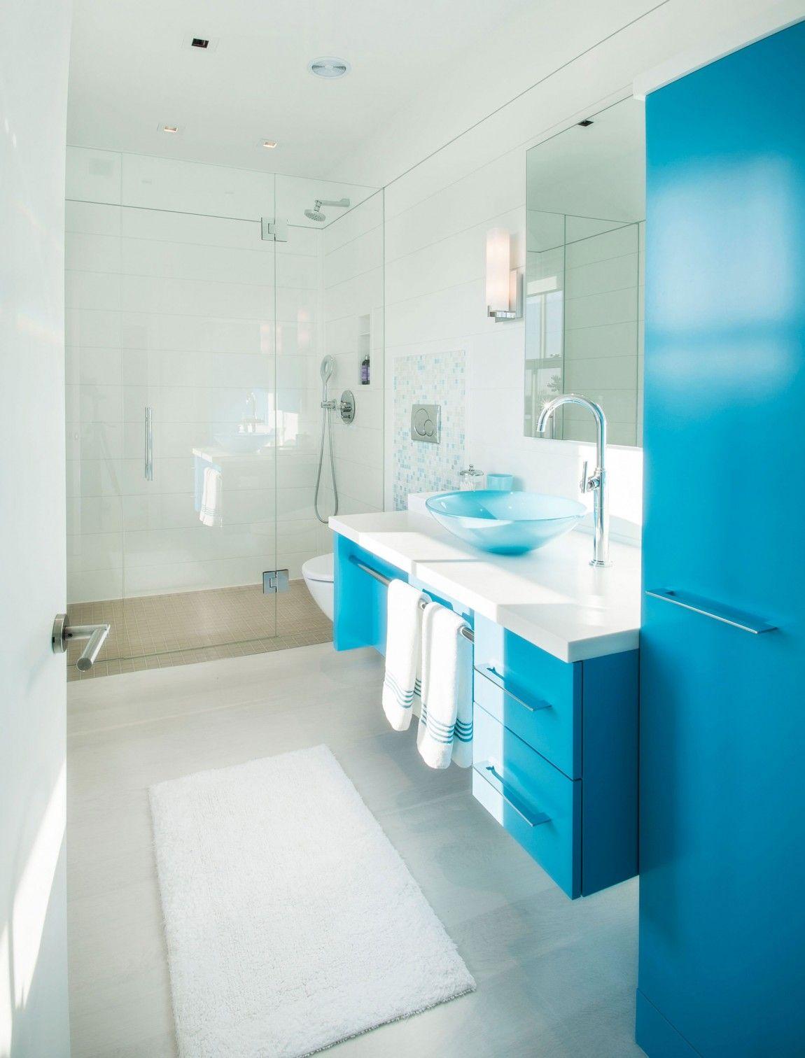 Bright blue in the bathroom   Bathrooms   Pinterest   Nantucket ...