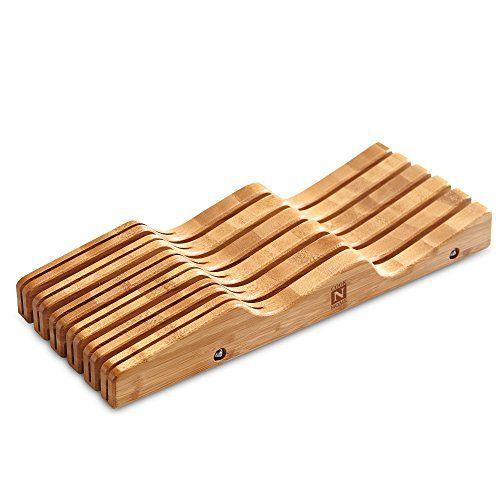 Cook N Home Bamboo Knife Storage In-Drawer Block Cook N Home