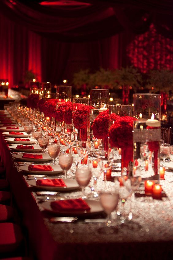 Red Flower Floating Candle Wedding Reception Centerpiece