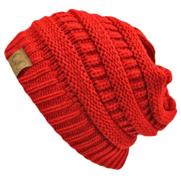 Red Thick Slouchy Knit Oversized Beanie Cap Hat Amazon Clothing ... b1cb359698ce