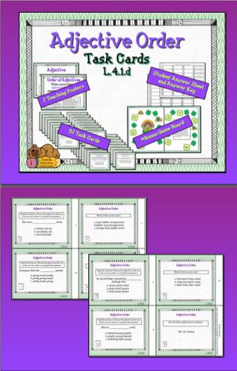 Adjective Order Task Cards Task cards, Order of
