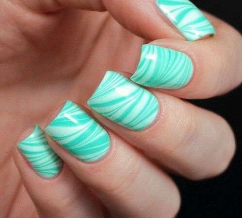 Mint green nails pictures photos and images for facebook tumblr cute nails for summer mint and white flowy stripes prinsesfo Gallery