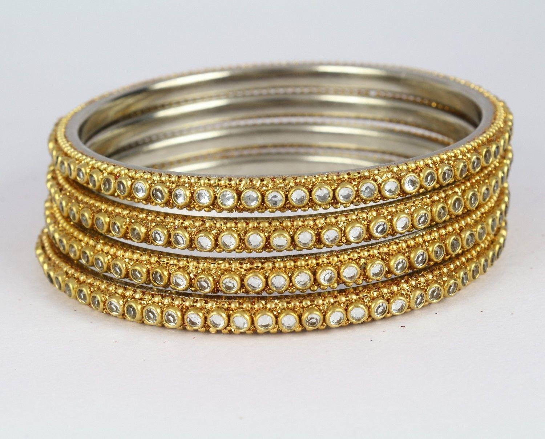 White kundan indian ethnic pc women bangle bracelet kada new
