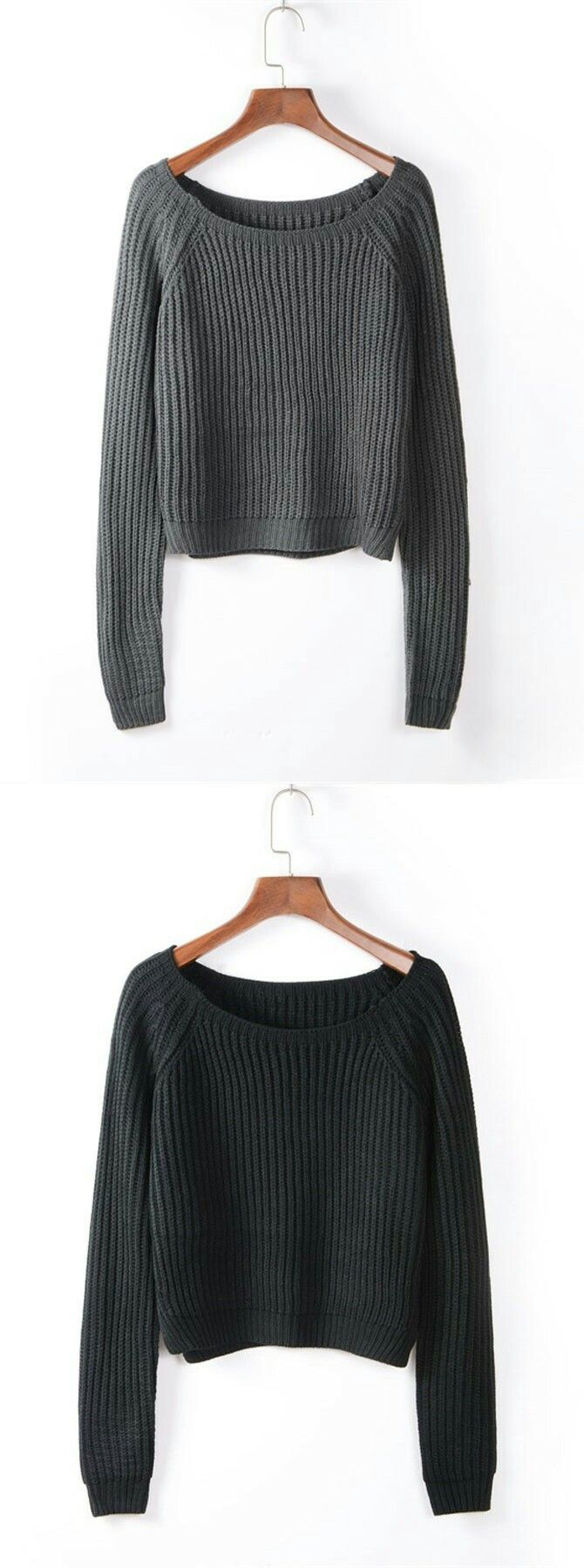 Short Round Neck Cotton Medium Black Sweater | Outfit winter ...