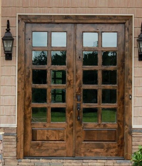 "French Exterior Doors Steel: Knotty Alder 3/4 Glass Exterior Doors Patio Doors 72"" X 80"