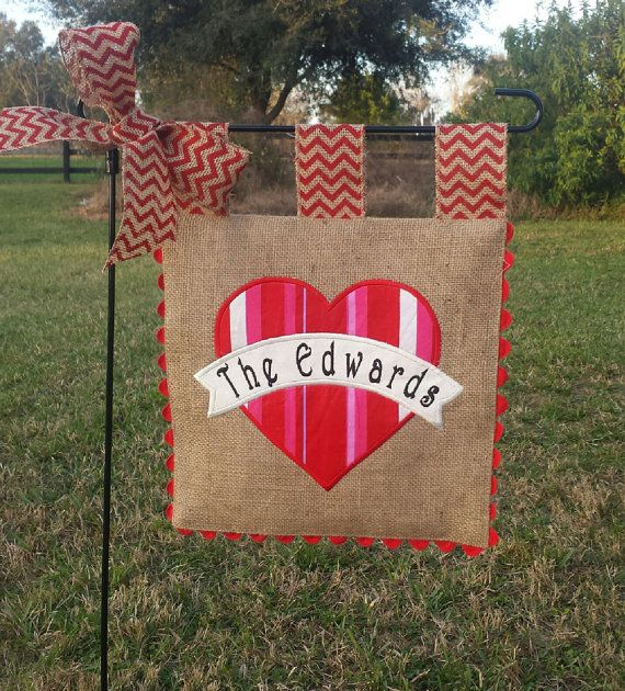Burlap Garden Flag Valentines Heart With By Sewgoddesscreations